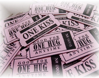 Love - Valentine Tickets - Good for One Hug- Good for One Kiss- Tickets - Coupons- (10)