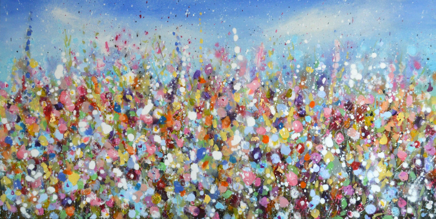 Large floral abstract painting free delivery expressive for Floral acrylic paintings