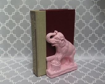 Pink Elephant Bookend Vintage painted light pink