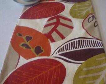 Long Burnt Orange Table Runner Red Aubergine Green Funky Floral Leaves Home  Decor Over 6ft (