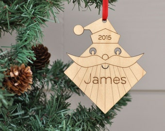 Santa Ornament: Personalized Name Retro Classic Wooden Christmas Ornament for Boy, Girl, Baby or Kids