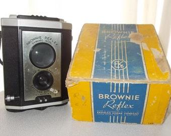 Vintage 1940's KODAK Brownie Reflex Synchro Model Camers-Original Strap & Box