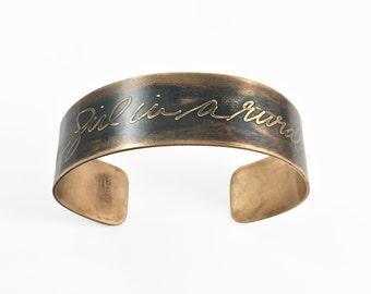 Personalized Aged Bronze Cuff Bracelet   custom memorial bracelet, wedding, anniversary, encouragement, Christmas, handwriting jewelry gift