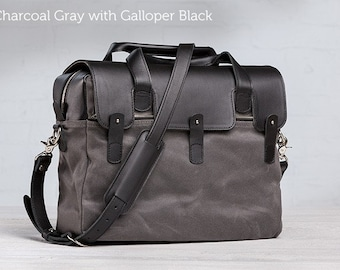 The Large Briefcase  -  Charcoal Gray with Galloper Black