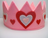 Felt Crown Hearts, Pretend Play, Princess Crown, Dress Up, Party Crown Hat, Valentine's Day
