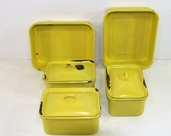 Five Vintage Yellow Enamelware Containers, Three Containers with Lids, Vintage Enamelware