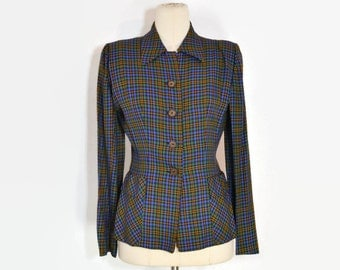 Vintage 1950's Blue Green and Gold Plaid Glenhaven Fitted Nipped Waist Blazer, S/M
