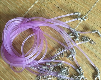 good quality--30pcs 16-18 inch adjustable 2mm Purple rubber necklace cords with lobster clasps and 2 inch extender
