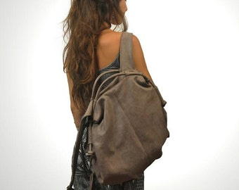 Handmade leather backpack - Katerina in Greybrown vintage look leather,MADE TO ORDER