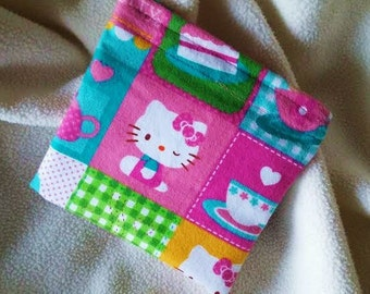 """Reusable Snack Bag, Sandwich Bag, Grab Bag, Party Favor, Change Purse, Teacher Gift, """"Hello Kitty at a Party!!"""""""