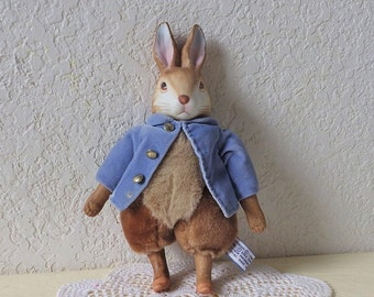 Rare Frederick Eden Porcelain and Plush Peter Rabbit Doll Figure from the Beatrix Potter Collection, 1987