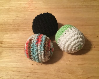 Hand crocheted cat toys with Catnip