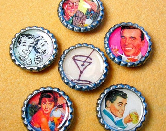Drinking Buddies - Bottle Cap Magnets Set of 6