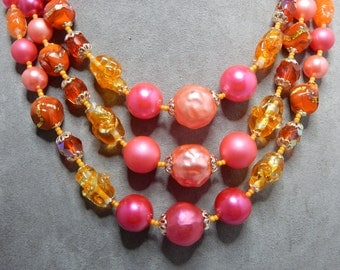 Fabulous '50s 3 Strand Foiled Art Glass Bead Choker Necklace Orange & Pink