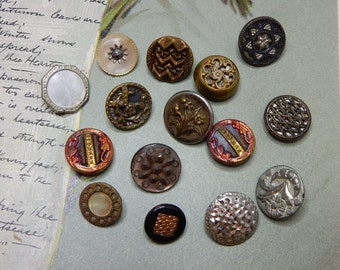15 Victorian Miniature Metal Picture Buttons Lot 2