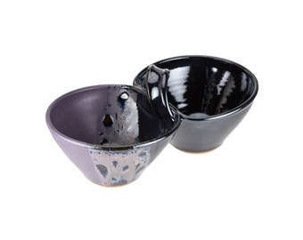 Two bowl condiment serving dish in Midnight / attached sauce bowls / dual serving dish / hand thrown pottery bowls / double dipper