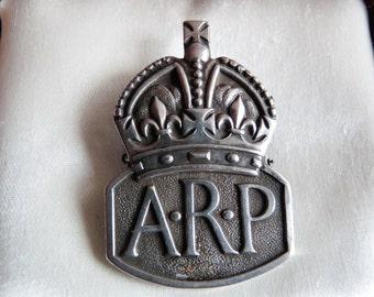 Sterling Silver WW2 ARP Collar Lapel Badge Hallmarked London England 1938
