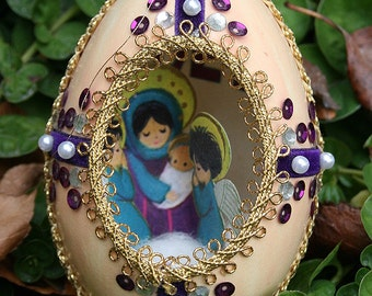 Vintage Duck Egg Shell Christmas Diorama with Jewels Jeweled Scene Fabergé Style - Velvet Royal Purple and Pearls