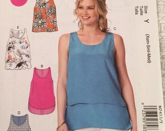 McCall's Sewing Pattern M7411 Misses' Scoopneck Tank Tops New UNCUT
