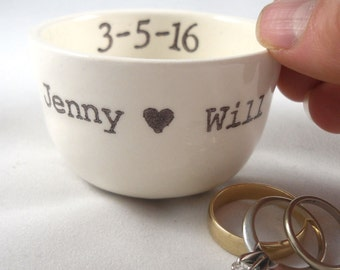handmade ring holder CUSTOM RING DISH personalize name initials wedding ring pillow ring holder candle holder engagement gift idea
