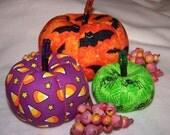 BRIGHT HALLOWEEN Family of 3 Fabric Pumpkins Glitter Stalks for Fall Autumn Halloween Decorations