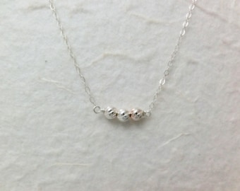 Sterling Silver Trio Round Ball Necklace. Everyday Wear Jewelry by smoketabby. Gift for her.