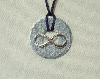 Metal Washer Pendant, Infinity Necklace, Infinity Jewelry, Hammered Metal Jewelry,  Infinity Charm