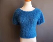 vintage fluffy angora sweater girl XL fuzzy angora handknit sweater flawless condition vintage angora sweater blue angora plus size angora