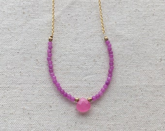 SALE Pink faceted natural stone beaded necklace on gold plated chain | FREE gift wrapping