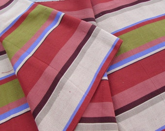 Guatemalan Fabric in Wide Rust, Brown and Green