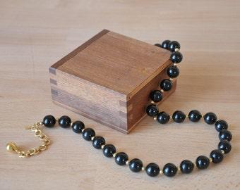 1960s Monet Black and Gold Beaded Necklace // Choker Signed Designer