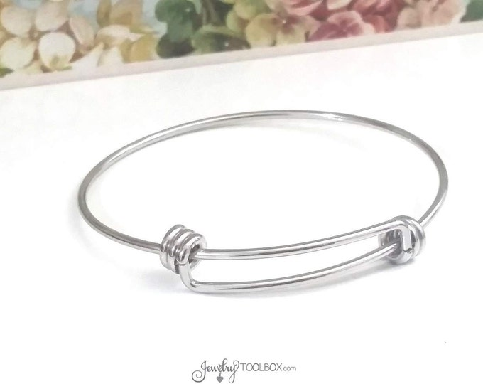 Featured listing image: Adjustable Bangle Bracelet, 2mm THICK Expandable Bracelets, Bulk Stainless Steel Jewelry Making Supplies, 60mm wide, Lot Size 1 to 50