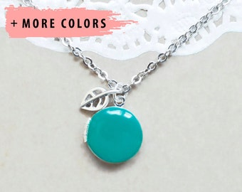 Small Enamel Locket with Raised Leaf Charm
