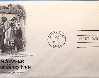 Tom Sawyer and Huckleberry Finn First Day Issue 1972 Stamp