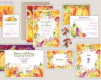 Fall Harvest Wedding Invitations - Watercolor Pumpkins, Gourds, Fall Colors, Colorful, Aubergine, Eggplant, Pumpkin Spice, Fall Foliage