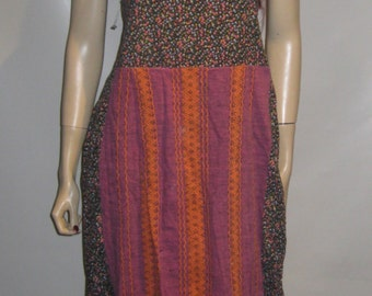 1970's Hand Made COMMUNE All COTTON Dress Floral BOHEMIAN Medium Lg