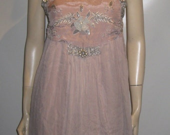 On Sale! Hand BEADED Vintage Dusty Rose BABYDOLL Dress ANDERSEN Lauth