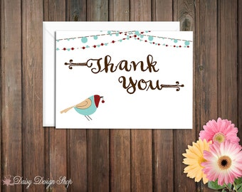 Thank You Cards - Winter Bird and String Lights - Set of 10 with Envelopes