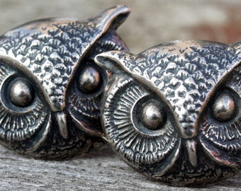 Steampunk Silver Owl Cufflinks Mens Silver Plated Cuff Link Vintage Antique Silver Victorian