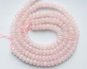 8x5mm  Rose Quartz faceted rondelle beads , milky rose quartz rondelle, pink quartz