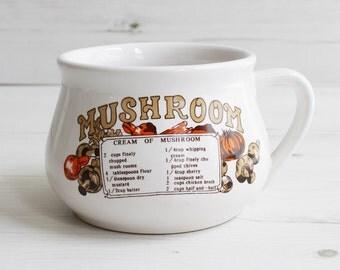 Vintage soup cup  - Mushroom mug recipe cook drink handle Large blue cooking kitchenware