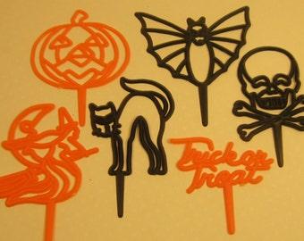 12 Vintage NOS Halloween Cake Picks Craft Supplies Embellishment
