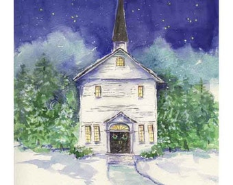 Let it snow - Chapel in the snow - print of my orginal watercolor painting