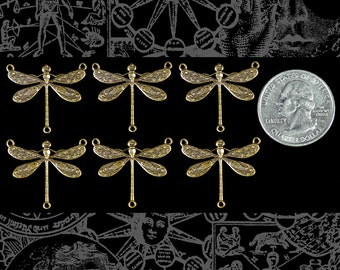 Smaller Ornate Dragonfly Three Ring Connectors Set of Six Antiqued Brass * AB-3C29