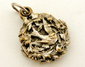 Silver plated religious slide pendant with swallows , Jesus and Mary, by Penin Poncet
