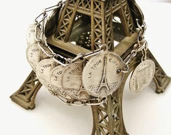 Vintage French Paris souvenir coin bracelet wide and extravagent