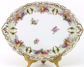 L R J Limoges France Vanity Dresser Tray Hand Painted Oval Tray