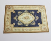 Miniature Large Size French Aubusson Rug in Blue and Cream With Roses
