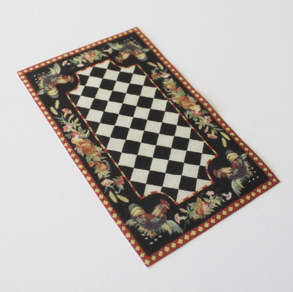 Miniature Rug With Roosters Black and Off White Check 1:12 Scale
