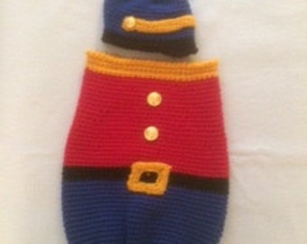 Adorable Newborn Toy Soldier Cocoon/Swaddler and Hat - Free Shipping